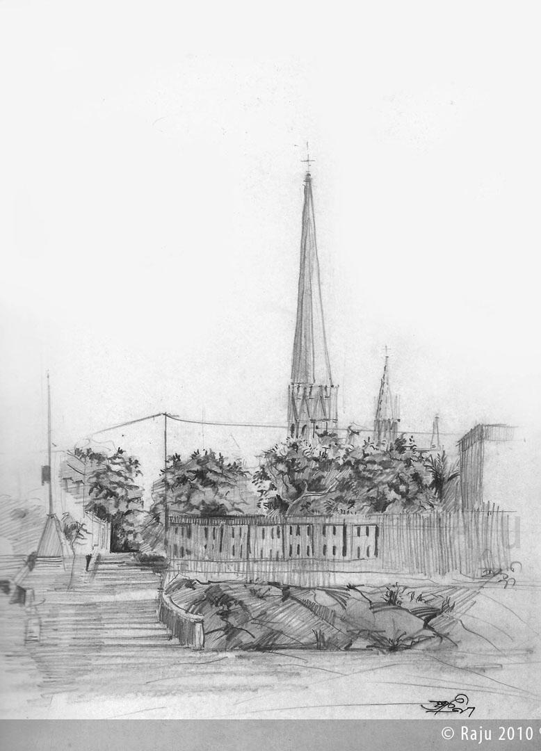 santhom church_ chennai_Medium_Pencil